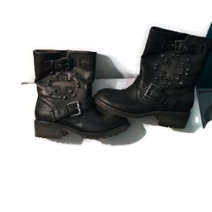 Moto rhinestones&Studded shoedazzle Boots like new